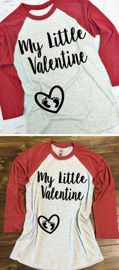 My Little Valentine Baseball Style Shirt. Perfect for Valentine's Day whily pregnant. XS-3XL. Pregnancy Valentine's Shirt. Baby Bump Valentine's Shirt. Maternity Valentine Shirt #maternity #ad