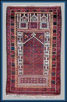 Baluch Rugs Tribal Oriental 1890 Seh Mihraba Prayer Rug