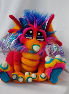 OOAK Pinkberry Needle Felted Dragon Fantasy by TangleWoodThicket, $175.00  It is the Year of the Dragon!  Love TangleWoodThicket's craftiness.