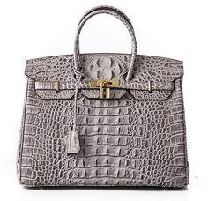 Ainifeel Women's Crocodile Embossed Office Handbag Top Handle Handbag (35cm, Grey)