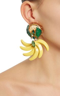 These **Dolce & Gabbana** earrings feature whimsical banana bunches and contrasting green leaf detail.