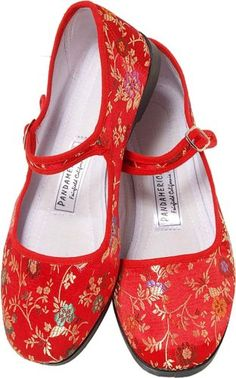 Amazon.com: Red Brocade Silk Mary Jane Chinese Shoes: Shoes