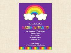 Printable Rainbow Birthday Invitations ~ Rainbow printable birthday invitation over the rainbow