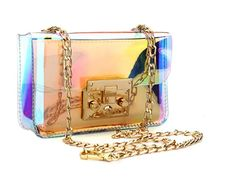Holographic Clear Purse Crossover Shoulder Messenger Bag Laser Sling Purse with Golden Chain (Medium) Big Men Fashion, Autumn Fashion Casual, Jelly Bag, Crossbody Messenger Bag, Casual Bags, Small Wallet, Candy Colors, Gifts For Women, Purses And Bags
