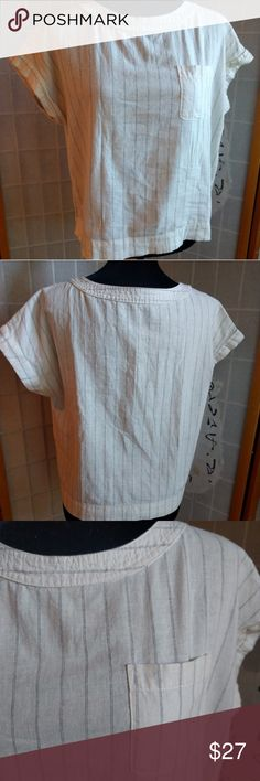 Linen Pinstripe Pocket Tee Off white boxy pocket tee, in a linen feel cotton.  It is a boxy style Japanese shirt from Japanese clothing retailer GU.  21 inches long and 20 inches across.  No size listed so please refer to measurements GU Tops Blouses