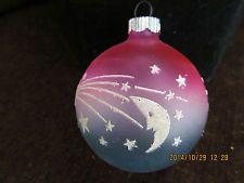 "VINTAGE UNSILVERED SHINY BRITE STENCIL CHRISTMAS ORNAMENT - MOON & STARS - 2"""
