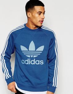 Super fede adidas Originals Trefoil Sweatshirt AJ6989 - Blue adidas Originals Sweatere til Herrer til hverdag og fest