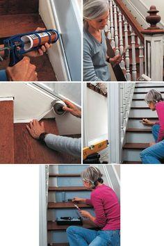 R novation escalier en b ton avec marches en bois deco - Peindre un escalier en pierre ...