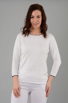 3/4 Sleeve With Textured Spot Vertical Lines Jumper