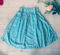 Robins Egg Blue Chevron Skirt / Turquoise and White by LoNaDesign
