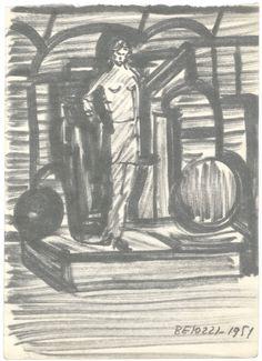 """E. Besozzi pitt. 1951 Composizione pennarello su carta f.b.d. cm. 13,5x9,5 arc. 24 Bibliografia: E. Baj, F. B. Negri, P. Tolu monografia """" Fogli ritrovati"""" 1991."""