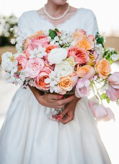 super darling pink and peach wedding florals