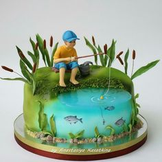 Regrann from @enjoycake.by.ak - #cakerussia #instacake #stagramcake #cake #cakes #sugar #fondant #fondantcake #cakedecorating Cake Decorating Tips, Celebration Cakes, Crazy Cakes, Fancy Cakes, Pretty Cakes, Beautiful Cakes, Fisherman Cake, Different Cakes, Dream Cake