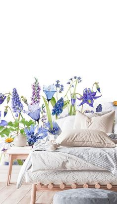 Do you love the outdoors? The fragrant smell of a stunning meadow? Then you need to take a closer look at this gorgeous Violet Wild Meadow wallpaper mural from Wallsauce.com! ❤ A gorgeous designer wallpaper by Uta Naumann, we think that it will add a stylish edge to your bedroom. Place it behind your headboard and keep the rest of the room as simple as possible. #bedroominspiration #prettybedroom