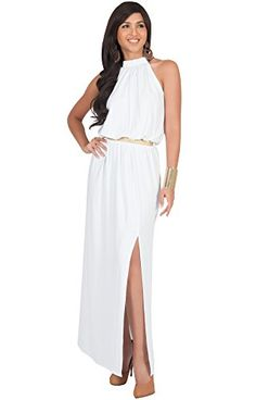 2a16325b76 KOH KOH Plus Size Womens Long Sleeveless Halter Summer Gown Belted Cocktail  Sexy Slimming Evening Cocktail Party Designer Special Maxi Dress Color White  ...