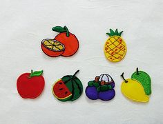 Fruit Iron on Patch (Set 6 Pcs)  - Fruits Applique Embroidered Iron on Patch