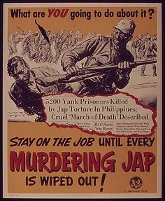 US Propaganda: This propaganda serves to build up anger about what the Japanese did to the troops in the Philippines. The Bataan Death March was brutal, and it gave every reason for Americans to get rid of Japanese forces. Us Marines, Diesel Punk, Poster Ads, Poster Prints, Bataan Death March, Ww2 Propaganda Posters, Japanese Poster, Prisoners Of War, World War Two