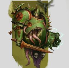 """Art of Warhammer on Instagram: """"Artist: Cristian Alias @srjalapenyo  Plague Marine bodies are bloated and swollen with the foul corruption of Nurgle festering within them.…"""" Warhammer 40k Art, Warhammer Fantasy, Chaos Daemons, Sci Fi Horror, Game Workshop, The Grim, Space Marine, Paladin, Fan Art"""