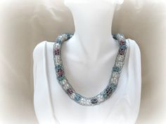 Silver Caged Pearl Spool Knit Necklace - Multi Colored Freshwater Cultured Pearls on Etsy, $74.27 AUD