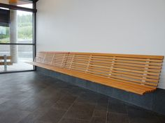 Bank zur Wandmontage by Nola Industrier Design Olle Anderson Wooden Bench Seat, Diy Bench Seat, Wooden Storage Bench, Wall Bench, Hallway Bench, Bench With Storage, Bakery Interior, Interior Walls, Wooden Slats