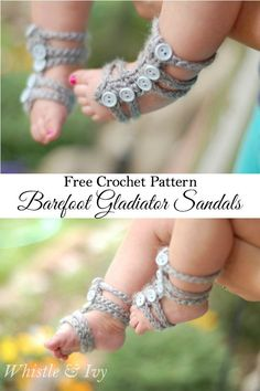 Baby Barefoot Gladiator Sandals with Free Pattern (Video)