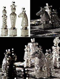 I should Learn to play chess, with a diamond chess set of course. Rate this from 1 to Diamond Gemstones Check Diamond Skull, Diamond Gemstone, Royal Diamond, Glitter Make Up, Sparkles Glitter, Chess Set Unique, Chess Pieces, Diamond Are A Girls Best Friend, Creations