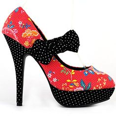 Show Story Black/Red Bow Floral Spot Polka Dots Platform Mary Jane Pumps,LF30457  List Price: $79.99 Buy Now: $33.99