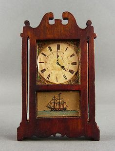 Vintage Dollhouse Miniature Mantel Clock w Ship Lithograph possibly unmarked Tynietoy