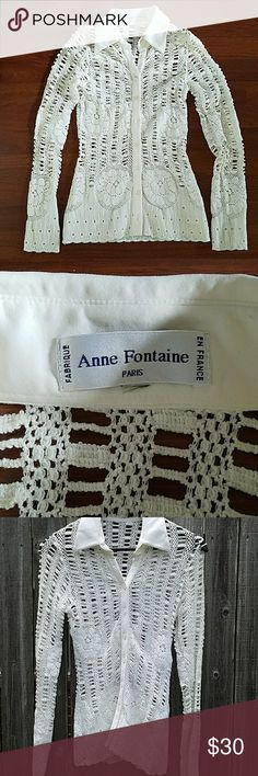Anne Fontaine Top from Paris This knit top is in good used condition... All Buttons are in tact; No loose threads, stains, or pulls ***Size S/M which has been remove No Trades Please Anne Fontaine Tops Button Down Shirts