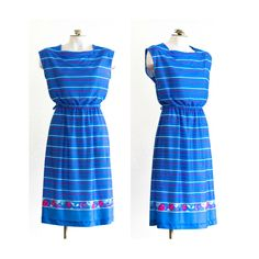 1970s or 1980s blue striped sleeveless day dress by TimeTravelFashions on Etsy