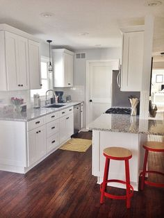 Galley Kitchen Remodel Ideas (Small Galley Kitchen Design, Makeovers, and Plans) Open Galley Kitchen, Small Galley Kitchens, Galley Kitchen Design, Galley Kitchen Remodel, New Kitchen Cabinets, Home Kitchens, Kitchen Designs, Modern Kitchens, Kitchen White