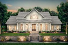 Sophisticated modern farmhouse - Open floor plan kitchen and great room space wi. , Sophisticated modern farmhouse - Open floor plan kitchen and great room space wi. Sophisticated modern farmhouse - Open floor plan kitchen and great. Modern Farmhouse Plans, Farmhouse Design, Farmhouse Style, Country Farmhouse Exterior, Farmhouse Bedrooms, Farmhouse Front, Farmhouse Kitchens, Farmhouse Homes, New House Plans