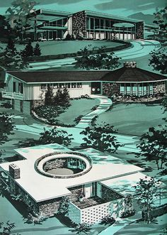 Mid-Century modern homes. Architects from top: Egils Hermanovski, Rudolph A. New Homes Guide, 1963 Mid Century Ranch, Mid Century House, Mid Century Style, Mid Century Modern Design, Modern House Design, Futuristic Architecture, Art And Architecture, Vintage Architecture, Vintage House Plans