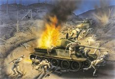 Tank Ambush at Ascom City, September 17 Korean War Military Art, Military History, Union Army, Ww2 History, Korean War, Modern Warfare, Vietnam War, Cold War, World War Two