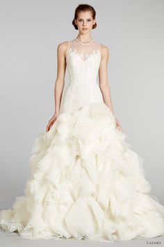 Lazaro, I love your voluminous skirt! ♥    lazaro bridal fall 2012 wedding dress illusion neckline