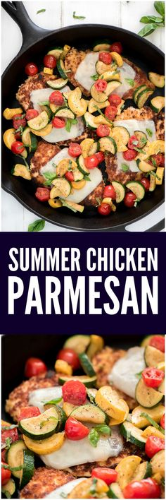This 20-minute Summer Chicken Parmesan has that classic delicious crispy coating but instead of smothering it in red sauce it's topped with your favorite summer veggies and ribbons of fresh basil.