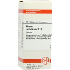 ZINCUM METALLICUM D 10 Tabletten:   Packungsinhalt: 80 St Tabletten PZN: 07183943 Hersteller: DHU-Arzneimittel GmbH & Co. KG Preis: 5,95…