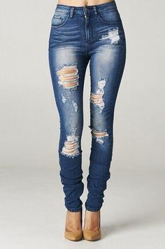 Ripped Jeans for Women 28 High Rise Destroyed Skinny Jeans Ripped Womens Dark Blue Denim Waist Distressed 7 How To Make Ripped Jeans, Womens Ripped Jeans, Ripped Skinny Jeans, Jeans For Women, Torn Jeans, Diy Jeans, Cute Jeans, Diy Ripped Jeans Tutorial, Diy Distressed Jeans Tutorial