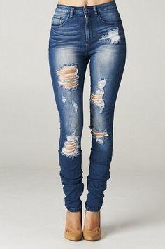 High Rise Destroyed Skinny Jeans Ripped Womens Dark Blue Denim waist distressed #Cello #SlimSkinny