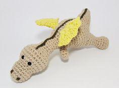 Amigurumi baby dragon crochet baby rattle soft toy by ByMarika