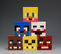 All 6 Lego Five Nights at Freddys Faces: Bonnie, Foxy, Golden Freddy, Chica, Marionette and Freddy. Each face is 2 1/2 inches tall, 2 1/2 inches wide