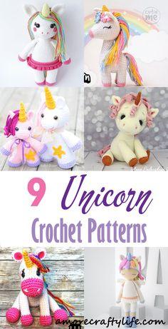 Baby Crochet 9 Crochet Unicorn Patterns – Cute Toys - A More Crafty Life Crochet Unicorn Blanket, Crochet Unicorn Pattern Free, Crochet Patterns Amigurumi, Crochet Pony, Unicorn Doll, Crochet Christmas Decorations, Knitted Dolls, Crochet Dolls, Cute Toys
