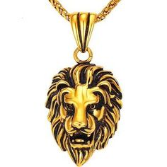 2ef9a199ca8 Black Lion Charms Necklace Rock Punk Style Men Women Retro Jewelry Gold  Color Stainless Steel Chain Necklace   Pendant