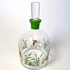 Vtg Barware Bohemia Glass Whiskey Decanter Mallard Duck Scene Original Stopper…
