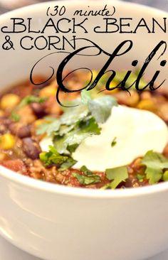 30 Minute Corn & Black Bean Chili Recipe--by far the best black bean chili I have ever had. Salsa verde & cilantro add great fresh flavor....it so easy to make & SO good!