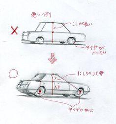 車の描き方 l 手描きパースの描き方ブログ、パース講座(手書きパース)