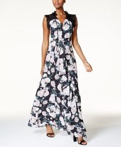 Fame and Partners Floral-Print Gown - Twilight Floral 22
