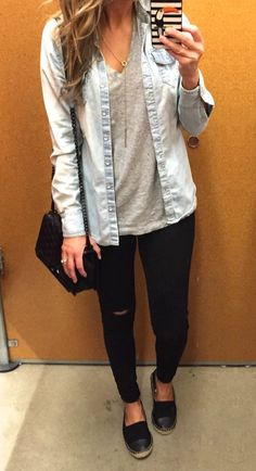 Casual - Tee / Chambray Shirt / Black Pants / Espadrilles - love this style