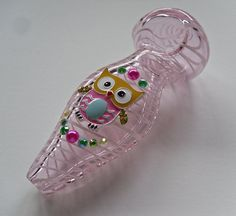 Pink Glass Pipe Striped Spoon Pipe with an Owl Pearls and AB Rhinestones