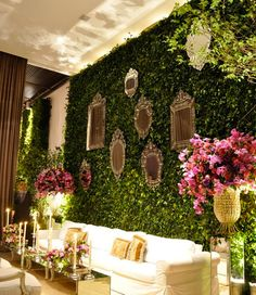 Wall of green- darling seating area! Things That Sparkle: Wedding Wednesday